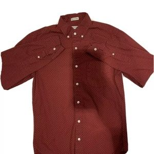J Crew Red Mens Untucked Button Up Shirt